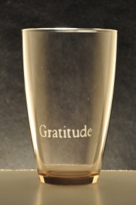 "Kotodama Glassware Waterglass colored Orange featuring the positive word ""Gratitude"""